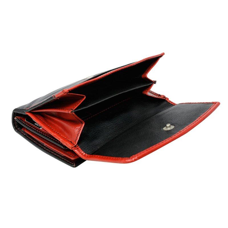 Dámská členitá kožená peněženka Květuše červená/černá