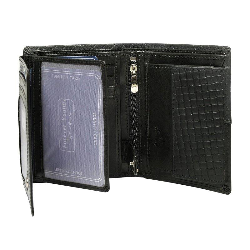 Pánská módní kožená peněženka Tichomír černá
