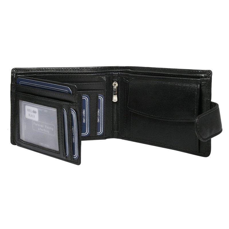 Pánská prostorná kožená peněženka se zapínáním Jáchym černá