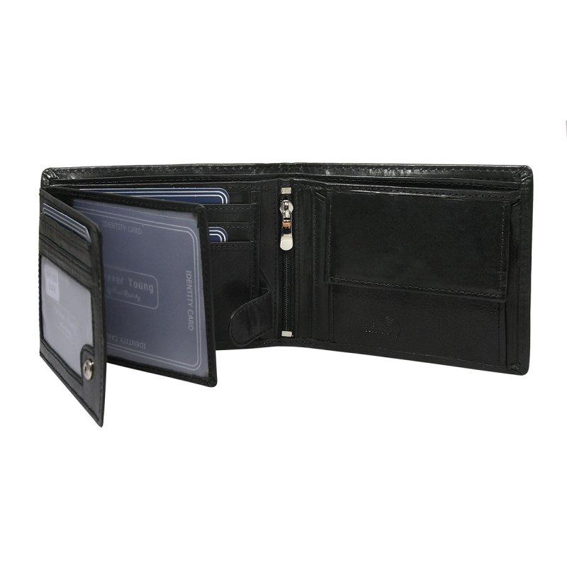 Pánská prostorná kožená peněženka Bořivoj černá