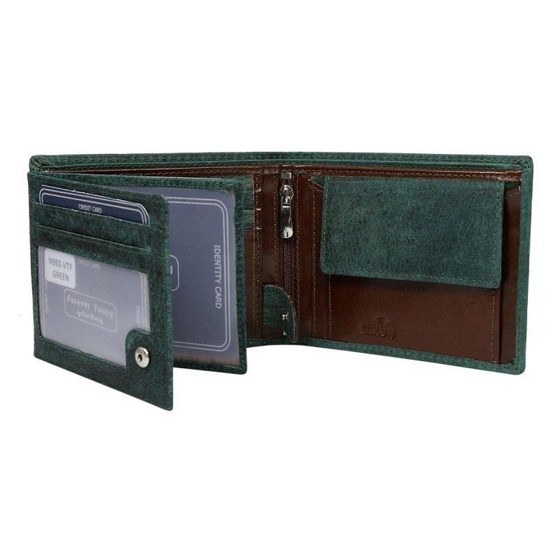Módní pánská kožená peněženka Krištof zelená