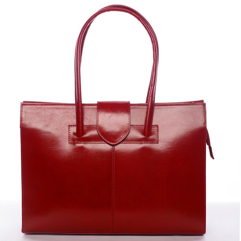 Červená kožená kabelka Hernan přes rameno