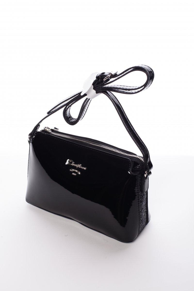 Lesklá dámská crossbody kabelka Erica, černá